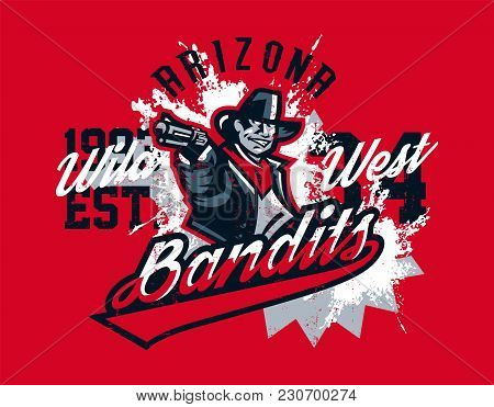 Vector Illustration On A Theme Of The Wild West, Cowboy Shooting From A Revolver, Bandit, Criminal.