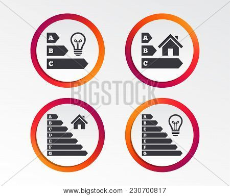 Energy Efficiency Icons. Lamp Bulb And House Building Sign Symbols. Infographic Design Buttons. Circ