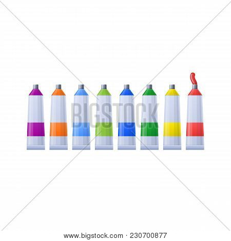 Set Multi-colored Tubes With Paints For Drawing Paintings And Images. Realistic Tubes For Artistic C