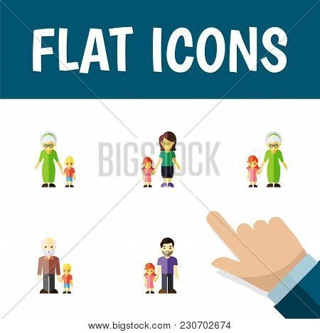 Icon Flat Relatives Set Of Daugther, Grandpa, Grandson Vector Objects. Also Includes Family, Grandso