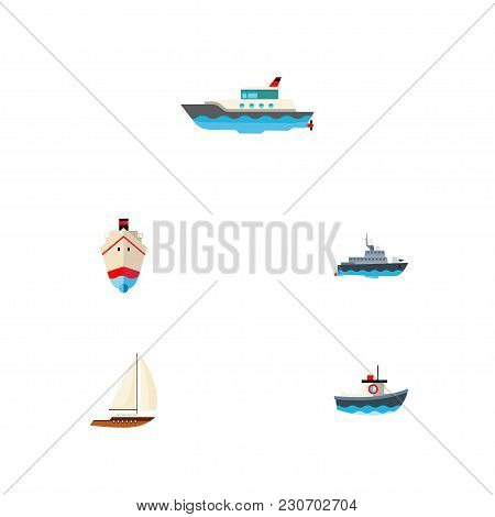 Icon Flat Vessel Set Of Shipping, Vessel, Sailboat And Other Vector Objects. Also Includes Ship, Ves