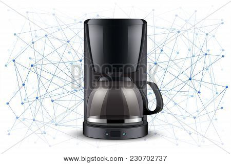 Concept Of Blockchain Iot And Food Industry. Coffee Maker On Abstract Background. Editable Vector Il
