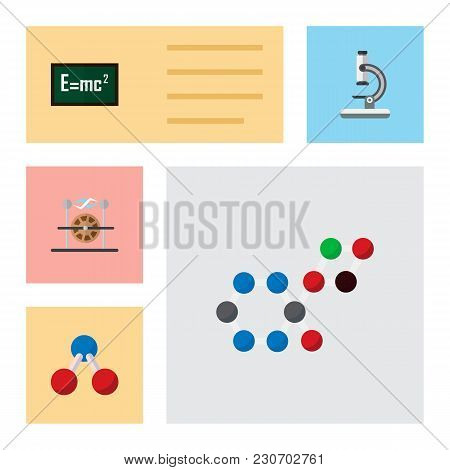 Icon Flat Knowledge Set Of Electricity, Water Molecule, Formula And Other Vector Objects. Also Inclu