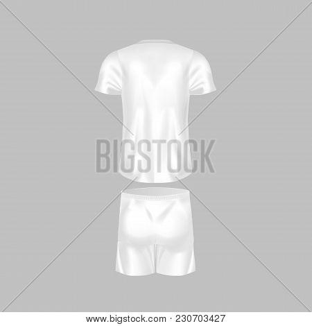 Realistic Mockup Of Men T-shirt - Tunic And Fashion Shorts. Men S Sports Short Sleeve T-shirt, Footb