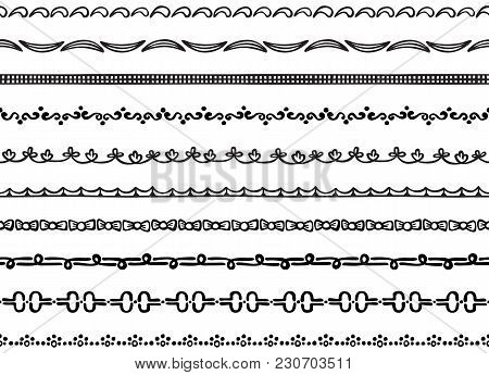 Set Of Ten Illustrated Decorative Seamless Borders Made Of Hand Drawn Elements In Black