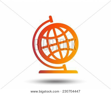 Globe Sign Icon. Geography Symbol. Globe On Stand For Studying. Blurred Gradient Design Element. Viv