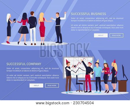 Successful Business And Company Web-pages Set With Buttons And Sample Text, People In Celebration Ha
