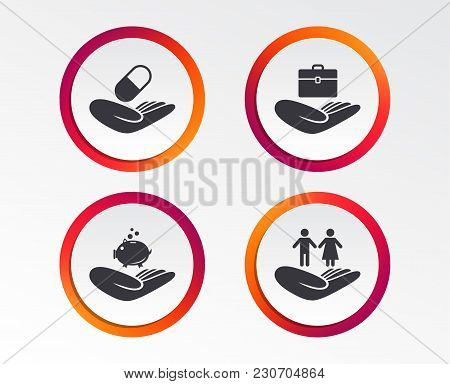 Helping Hands Icons. Protection And Insurance Symbols. Financial Money Savings, Health Medical Insur