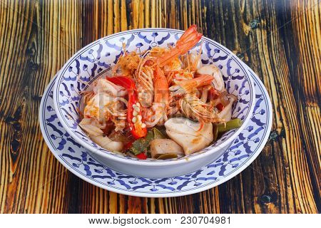 Thai Recipe ,tom Yum Fresh Prawn With Milk And Sliced Coconut. Thai Spicy And Sour Prawn Soup  Call