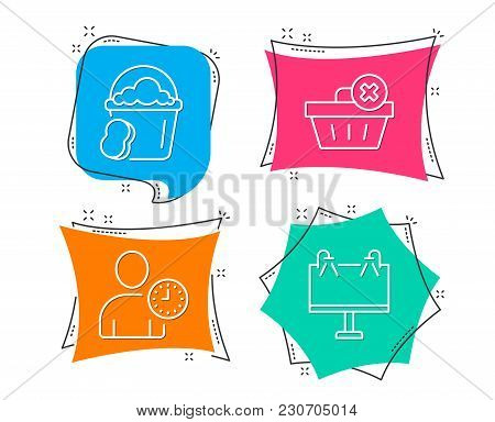 Set Of Delete Order, Time Management And Sponge Icons. Road Banner Sign. Clean Basket, User With Clo