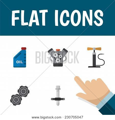 Icon Flat Service Set Of Pumping Air, Engine, Pulley And Other  Objects. Also Includes Car, Silent,