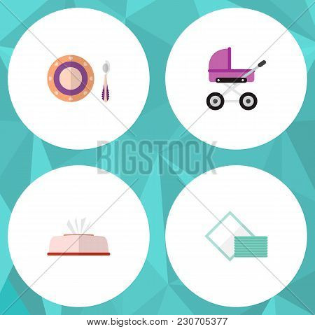 Icon Flat Infant Set Of Napkin Box, Pram, Dish And Other  Objects. Also Includes Napkin, Baby, Tissu