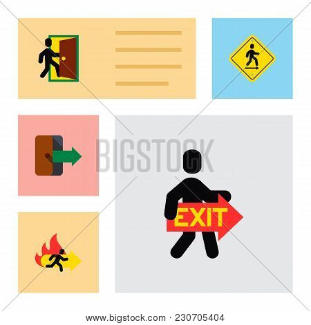 Icon Flat Emergency Set Of Directional, Exit, Emergency And Other  Objects. Also Includes Exit, Dire