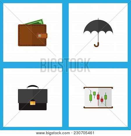 Icon Flat Gain Set Of Chart, Briefcase, Wallet And Other  Objects. Also Includes Pocketbook, Portfol