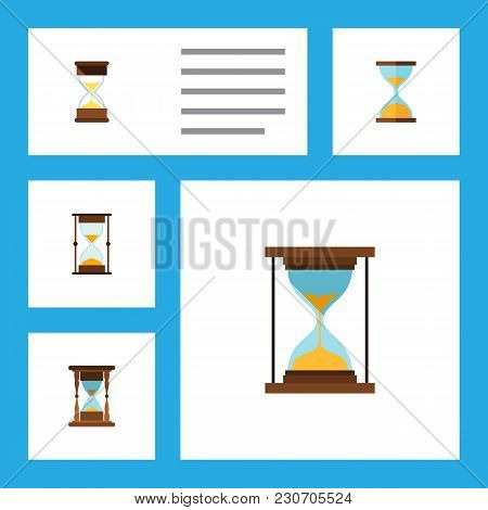 Icon Flat Timer Set Of Minute Measuring, Clock, Loading And Other  Objects. Also Includes Timer, Ins