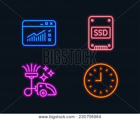 Neon Lights. Set Of Vacuum Cleaner, Ssd And Web Traffic Icons. Clock Sign. Vacuum-clean, Solid-state