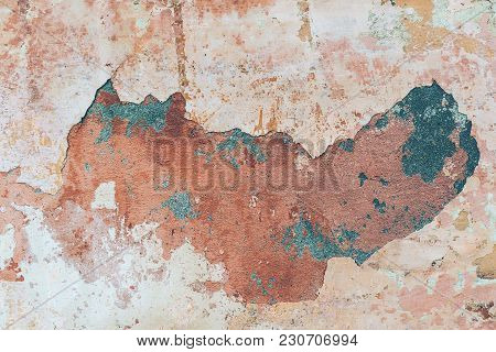 Old Colored Cracked Wall, Background, Texture