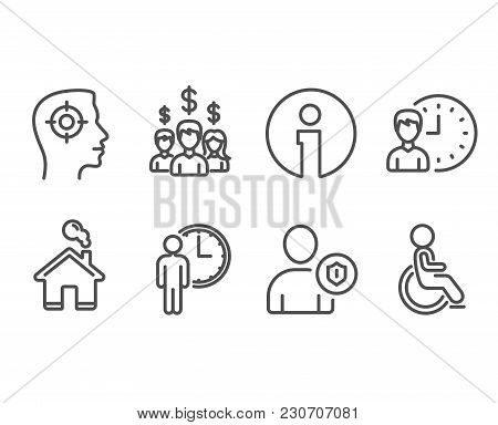 Set of Recruitment, Security and Salary employees icons. Waiting, Working hours and Disabled signs. Headhunter aim, Person protection, People earnings. Vector poster