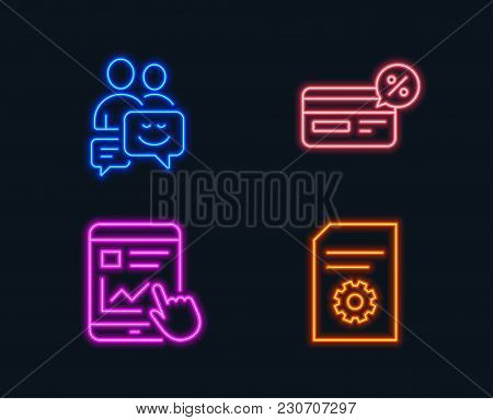 Neon Lights. Set Of Cashback, Internet Report And Communication Icons. File Settings Sign. Non-cash