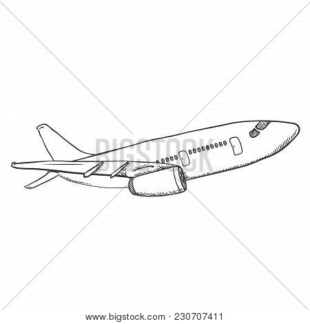 Vector Single Black Sketch Airplane.