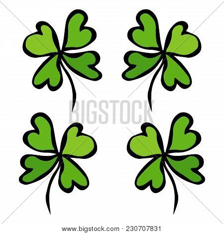 Four Leaf Green Clover. Luck, Success Symbol. Good Luck. Irish Luch. Saint Patricks Day Ireland Vect