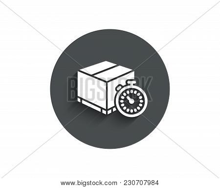 Shipping Tracking Simple Icon. Delivery Timer Sign. Express Logistics Symbol. Circle Flat Button Wit