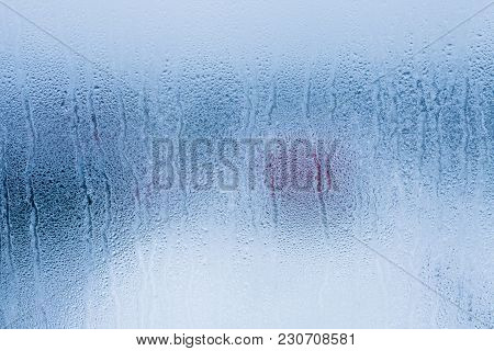 Condensation Background With Dew Drops On Glass Window, Humidity, Foggy Weather Blank Background. Ou