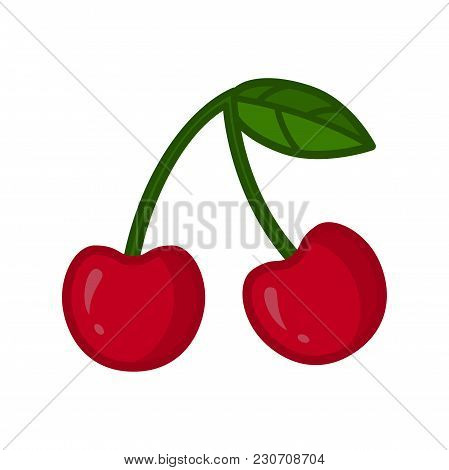 Cherry Icon. Cherry Twig With Leaves. Vector Illustration