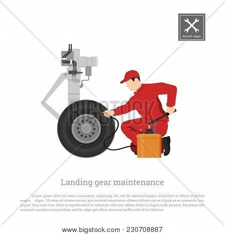 Repair And Maintenance Of Aircraft. Engineer With Hand Pump For Landing Gear. Industrial Drawing Of