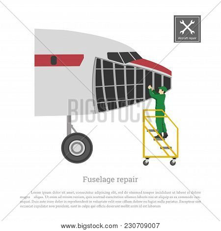 Repair And Maintenance Of Aircraft. Servise Of Airplane Fuselage. Industrial Drawing Of Plane In Fla