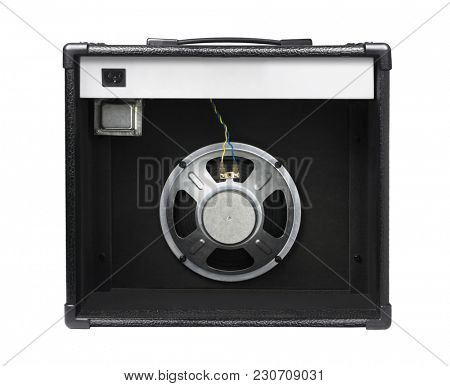 Rear View of Guitar Amplifier on White background