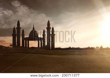 Image Of Mosque With High Minarets At Sunset