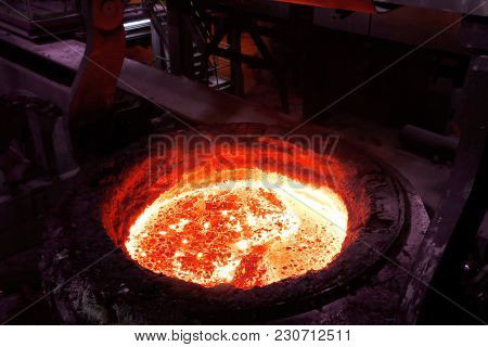 Close Up Of Steel-making Furnace In Smelting Steel Plant.