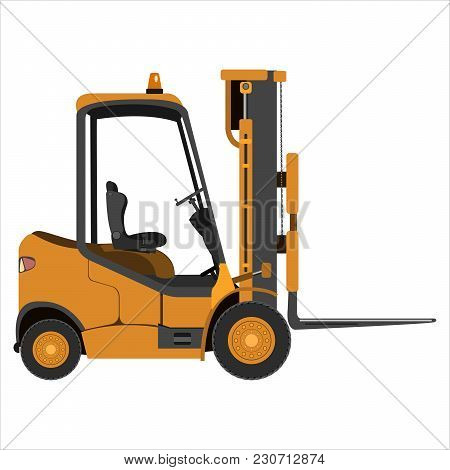 Forklift Isolated On A White Background. Flat Design. Vector Illustration.