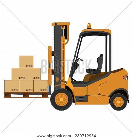 A Forklift Unloads The Pallets With The Boxes. Isolated On A White Background. Flat Design. Vector I