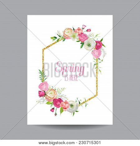 Blooming Spring And Summer Floral Frame With Golden Glitter Border. Watercolor Roses Flowers For Inv