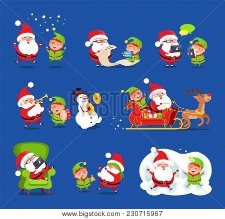 Santa And Elf Collection, Claus And Little Boy Happy Because Of Snow, Reading Wishlists, Singing And