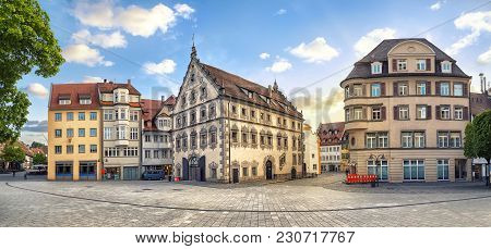 Panoramic View Of Old Buildings On Marienplatz Square On The Center Of Ravensburg, Baden-wurttemberg