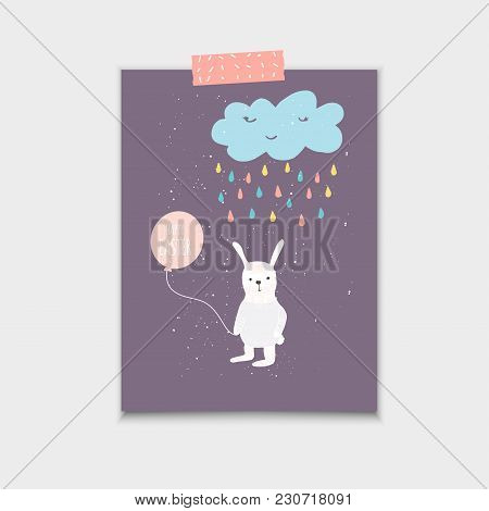 Easter Banner Background, Template With Cute Banny, Rabbit And T