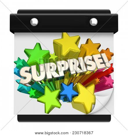 Surprise Big Shock Day Party Event Wall Calendar Day Date 3d Illustration