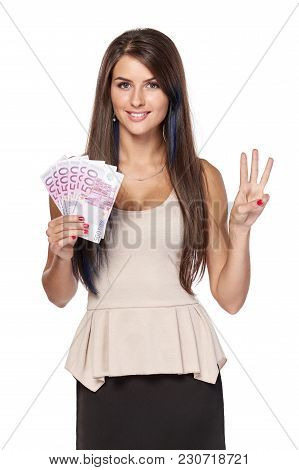 Woman With Euro Money Paper Currency In Hand Showing Three Fingers, Over White Background