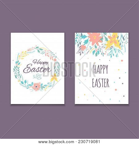 Easter Postcard Template , Hand Drawn Illustration.