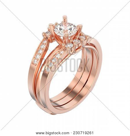 3d Illustration Isolated Rose Gold Two Shanks Decorative Diamond Ring On A White Background