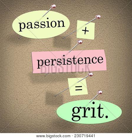 Passion Plus Persistence Equals Grit 3d Illustration
