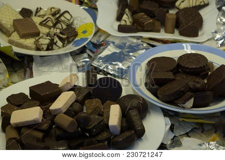 Assortment Chocolate Praline Sweets Row Rows Set