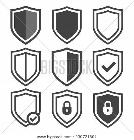 Vector Shield Icon Set. Security Vector Icons. Protection Logos. Shield Vector Icon Collection. Сryp