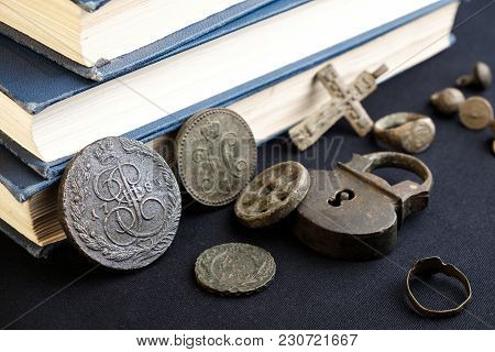 Rare Old Coins Of The Russian Empire On A Fabric Background