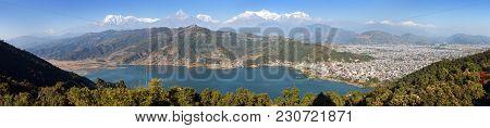 Panoramic View Of Mounts Annapurna, Dhaulagiri And Manaslu Himalayan Range, Pokhara And Phewa Lake,