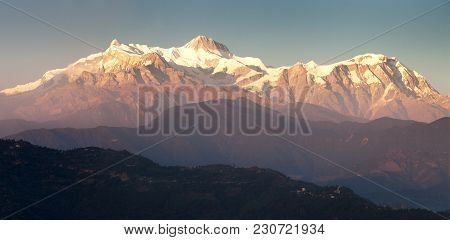 Evening Red Colored Sunset Panoramic View Of Annapurna Himal Range, Annapurna 2 Ii And 4 Iv, Nepal H