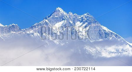View Of Top Of Mount Lhotse South Rock Face Blue Colored, Sagarmatha National Park, Khumbu Valley, N